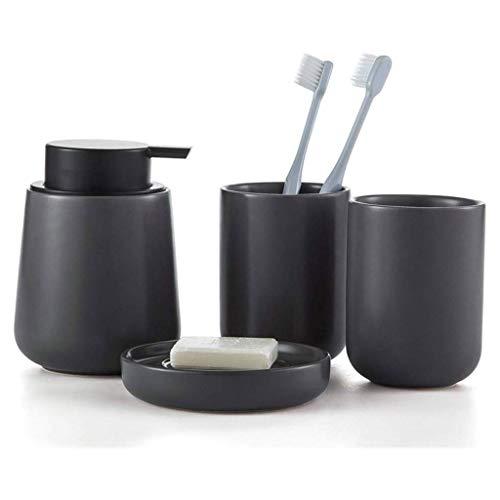 Dosificador Jabón Cuarto de baño de cerámica Botella accesorios conjunto de Split Loción Dispensador de jabón botella, taza de enjuague bucal y plato de jabón, cepillos de dientes (negro) Botellas dis