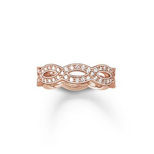 THOMAS SABO Damen-Ring Love Knot Unendlichkeitsring Silber vergoldet Zirkonia weiß Gr. 54 (17.2) - TR1973-416-14-54