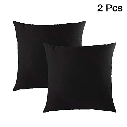 AllRight 2pcs Plain Dyed Cushion Covers 100% Percale Cotton Throw Pillow Case Home Decoration 18' x 18' Black
