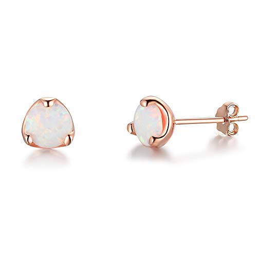YAZILIND S925 Sterling Silver Round Opal Stud Earrings Women Girls Valentines Jewellery Gift(Rose Gold)