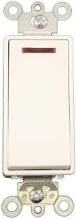 Leviton 5628-2W 20 Amp, 120 Volt, Decora Plus Rocker Pilot Light, Illuminated On, Req. Neutral Single-Pole AC Quiet Switch, Commercial Grade, Self Grounding, White