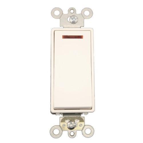 NEW Leviton 5626-I Single Pole Stack Switch Rocker//Neon Pilot Combination Ivory