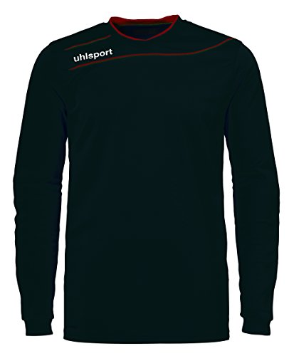 uhlsport Camiseta Strema 3, 0 para Hombre/Jersey Manga Larga/Portero Acolchado, Azul/Amarillo Flúor, XXS, Negro/Rojo