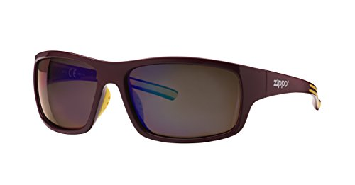 Zippo Polarized Blue Flash Mirror Lens Gafas de Sol, Unisex, Granate, Medium