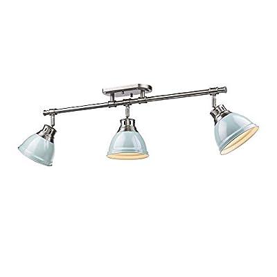 Duncan 3 Light Semi-Flush - Track Light in Pewter Seafoam Shades