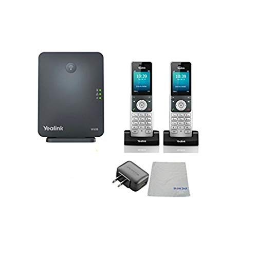 Global Teck Bundle of Yealink W56H IP Cordless Phones Office Bundle-DECT Handset and Base Unit, Power Supply and Microfiber Cloth (Yealink W60B DECT Base and 2 Handset)