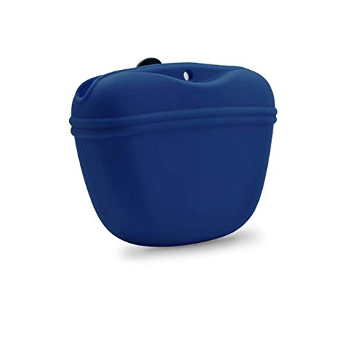 AUDWUD- Silicone Dog Treat Training Pouch - Clip on Portable Training Container – Convenient Magnetic Buckle Closing and Waist Clip - 100% Certified Food Grade Silicone & BPA Free (Navy Blue)