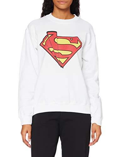 DC Comics DC Comics Official Superman Shards Logo Womens Sweatshirt, Sudadera Mujer, Blanco, Small