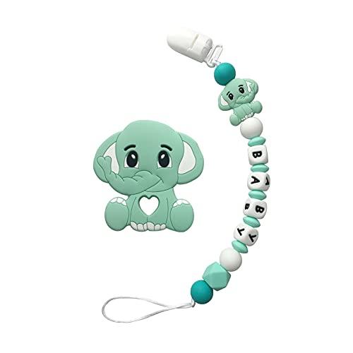 Clip de chupete personalizado con nombre para bebés Elefante Elefante juguete calmante con chupete personalizado Clip Set Silicone Beads Titular Binky para Newborn Infantil - Verde