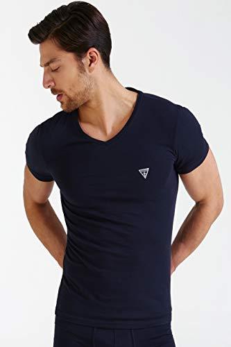 Guess Herren Logo V-Neck Tee T-Shirt, Jet Black, X-Groß