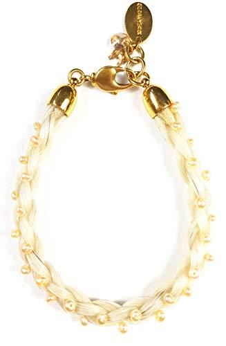 Blondes Pferdehaar Armband mit Süßwasserperlen und Minipferdekopf // Länge 17.5 cm Durchmesser 0,7 cm
