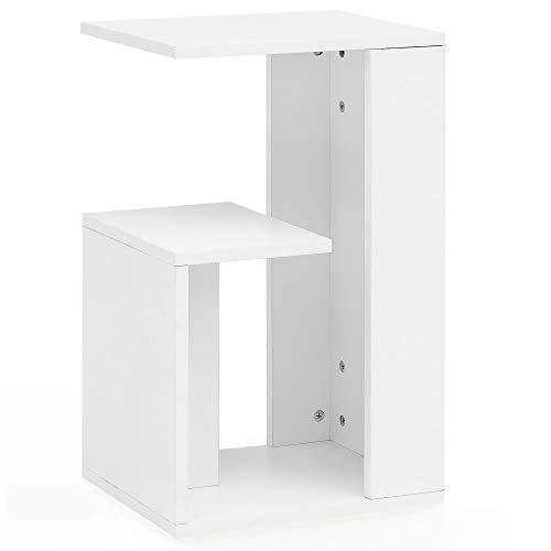 FineBuy Beistelltisch FB13502 35x61x30 cm Holz Weiß Design Anstelltisch Sofa   Couchtisch klein modern   Kleiner Wohnzimmertisch eckig   Sofatisch Ablagetisch hoch   Schmaler Tisch Wohnzimmer