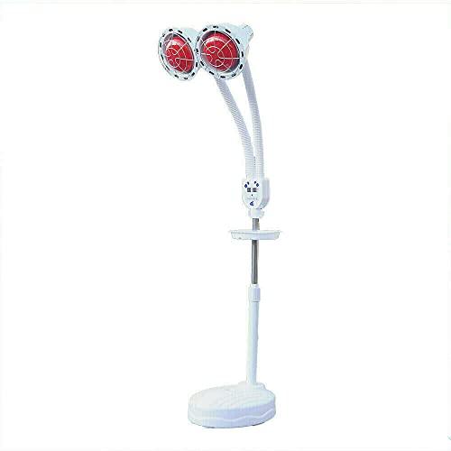 Lámpara de infrarrojos – 275 W doble cabeza lámpara de calor ajustable,foco de infrarrojos con trípode de suelo,rotación de 360°,foco de luz roja, lámpara de irradiación regulable con ruedas