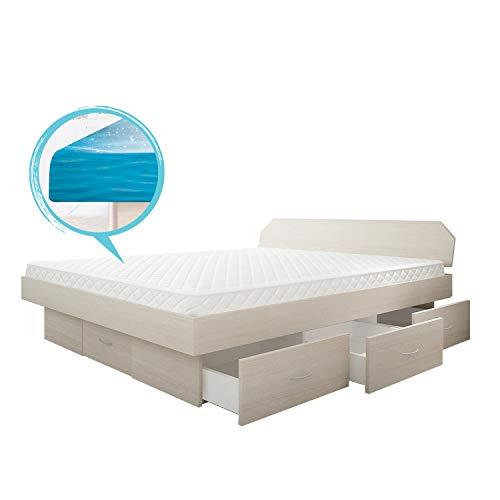 SONDERAKTION bellvita silverline Wasserbett mit Soft-Close Schubladensockel & Bettumrandung inkl. Lieferung & Aufbau durch Fachpersonal, 180cm x 200cm (esche)