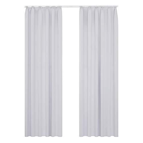 Deconovo Vorhang Blickdicht Gardinen Lärmschutz mit Kräuselband 200x140 cm Grau Weiß 2er Set
