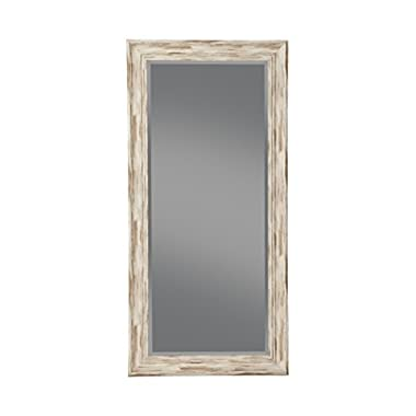 Sandberg Furniture Antique White Wash Farmhouse Full Length Leaner Mirror