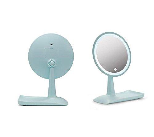 Miroir De Maquillage Mené, Miroir De Hd De Bureau Avec L'interrupteur De Capteur De Contact, Peut Tourner 360 ° - Léger Et Facile À Carr,Green
