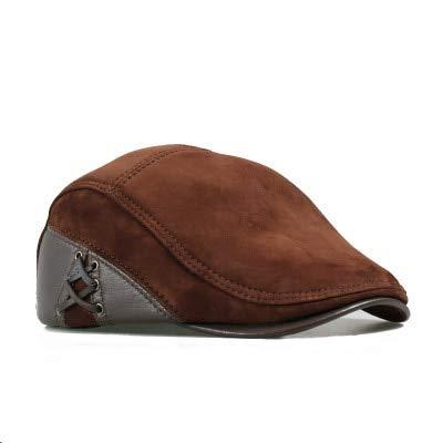 Qb Gorras de Cuero de Moda Boina Hombre Casual Negro/Marrón Sombreros de Pico de Pato Ajustados-Marrón, 57 58