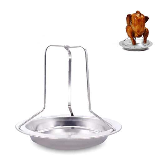 1PC pollo Roaster supporto della cremagliera pieghevole in acciaio inox verticale Girarrosto Pollo Con Vaschetta per il forno o barbecue Attrezzature da cucina Utile (argento)