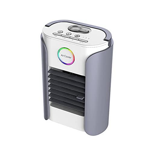NNZZ Ventilador de Aire Acondicionado PequeñO de Escritorio, Enfriador de Aire PortáTil Recargable USB, Luz LED de Cuatro Colores Incorporada, se Puede Conectar A Bluetooth
