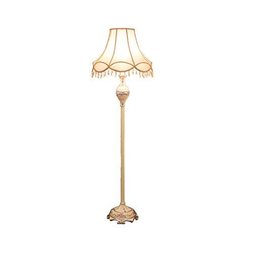 Lámparas de pie con flecos,campo Pantalla de tela concisa Villa Lámparas de pie cilíndrica Hierro Poste de luz Lámpara de madera Sostenedor de la lámpara (Size : 50 * 170CM)