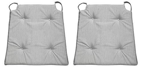 sleepling 1906500 Conjunto de 2 Cojines para Silla, Dimensiones: 42 (Delante) / 35 (detrás) x 40 x 5 cm, Gris Claro