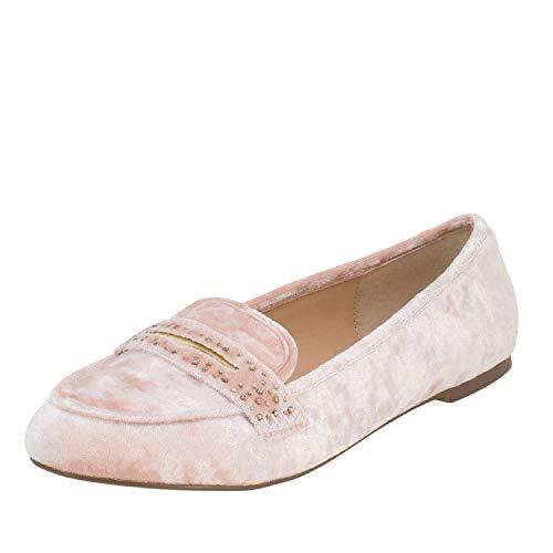 Fitters Footwear That Fits Damen Ballerina Alena Samt Mokassin Loafer Slipper Übergröße (44 EU, rosa)