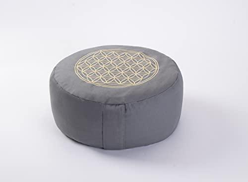 Cojín de meditación, cojín de yoga, 30 x 30 x 15 cm, 100% algodón, relleno de espelta (gris)