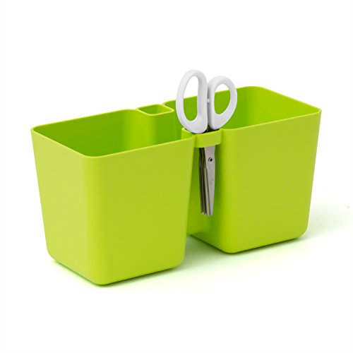 Double pot a herbes en lime TWINS CUBE avec ciseaux inclus