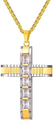 Liuqingzhou Co.,ltd Collar de Cruz Grande con Colgante de Dos Tonos de Color Dorado, Acero Inoxidable, circonita cúbica, joyería Cristiana para Hombres/Mujeres, Regalo