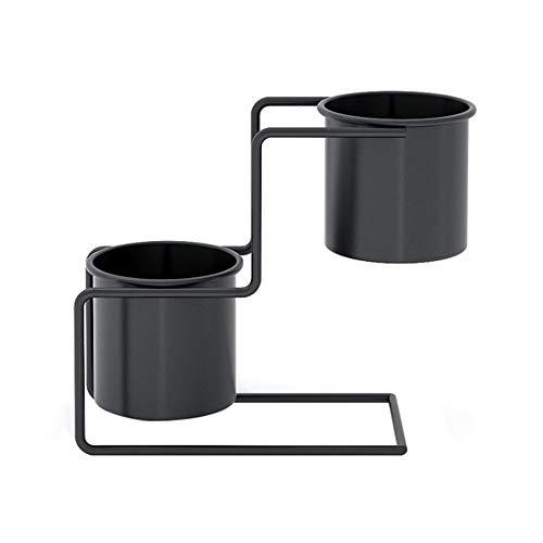 XQK Blumentopf-Ständer, Mini-Schmiedeeisen, Topfpflanzen-Halter, 2 Etagen, Metall-Pflanzgefäß, Regal für Innenbereich, Garten, Terrasse, Schreibtisch