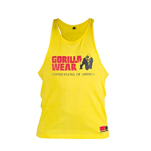 GORILLA WEAR - Herren Gym Shirt - Classic Stringer Tank Top - S bis 3XL Bodybuilding Fitness Muskelshirt Gelb XL