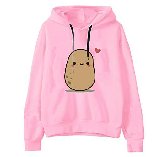 HOTHONG Femmes Pullover Sweat à Capuche Hoodies Sweatshirt Rayé Imprimé Pull Hauts à Manches Longues Sweat-Shirt DéContracté LâChe Sweat