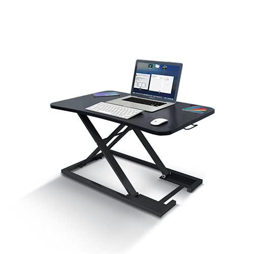 Zjcpow Mesa de escritorio ajustable para computadora portátil, altura ajustable, soporte para sentarse, estación de trabajo de doble uso, soporte ajustable (tamaño: tamaño libre; color: negro)