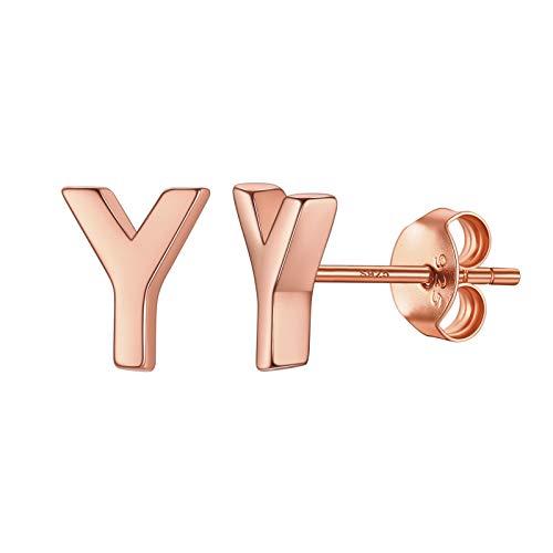 Piccoli orecchini a perno placcati in oro rosa 18 carati lettera Y per ragazze e bambini orecchini