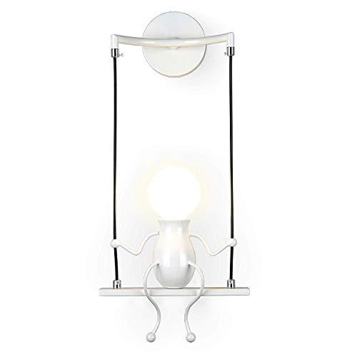 FSTH Einfache Wandleuchte Schwingen Metall Wandleuchte Kreatives Wandlampe Cartoon Lampe für Bar, Schlafzimmer, Küche, Restaurant, Café, Flur E27 (Weiß)