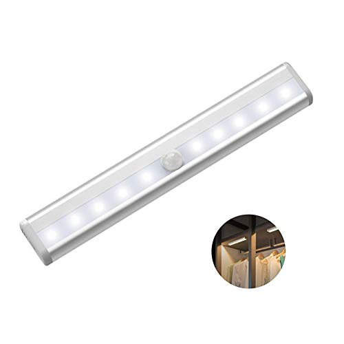 Flytootop LEDセンサーライト 人感センサー 室内 10 LED 高輝度 センサーライト 階段ライト クローゼットライト 取付簡単 クローゼット/キッチン/玄関/階段/寝室/本棚 屋内照明などの場所に適用 「電池式」