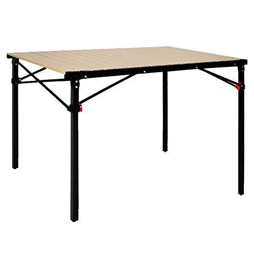 KingCamp Tavolo da Campeggio Roll Up Telaio in Acciaio Lega di Alluminio Desktop Pieghevole con Borsa per Il Trasporto (Desktop 107 x 70 cm) Supporto Fino a 80 kg