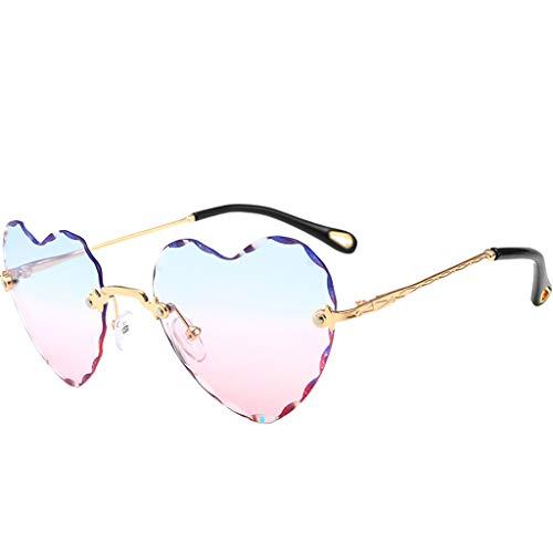 oshhni Gafas de Sol en Forma de Corazón Gafas de Sol con Lentes de Colores - Azul Rosado, Tal como se Describe