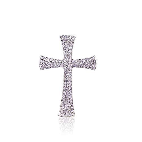 COLORFULTEA Broche Cruzado Jesús Cristianismo Cruces Broche Pin Chapado En Plata Broches De Diamantes De Imitación Completos