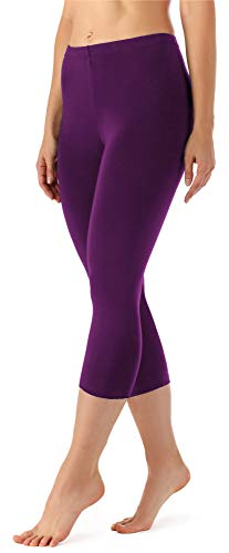 Merry Style Damen Leggings 3/4 aus Viskose MS10-144 (Pflaume, XXL)