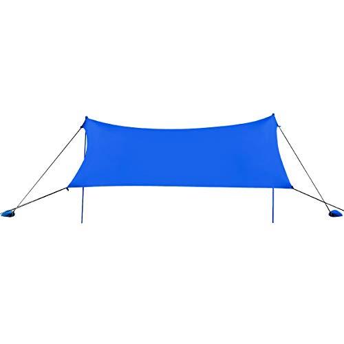 COSTWAY Sonnensegel Sonnenschutz mit 4 Sandsäcken und 2 Alustangen Lycra Sonnendach Strandmuschel für Strand, Camping (Blau, 210x210cm)