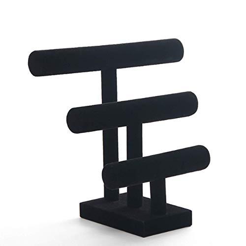 CHUN LING Jewelry Display Stand, 3 Tier Bracelet Holder Bangle Organizer Storage Jewelry Tower For Home Organization, Velvet Level Black
