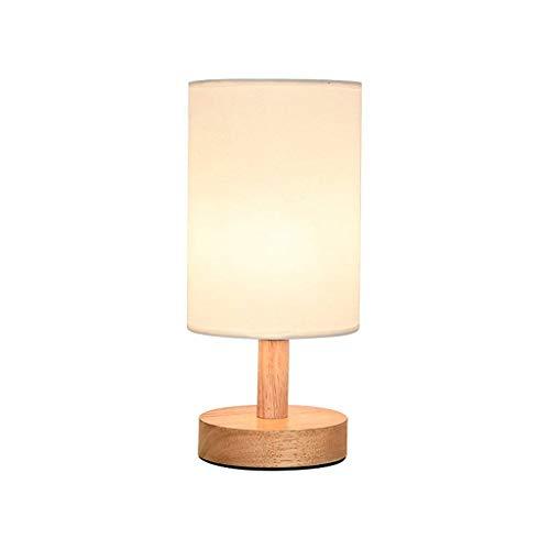 RANRANJJ Lampe de table avec base en bois naturel, lampe de chambre à coucher minimaliste en lin, lampe de bureau à LED avec table de chevet avec abat-jour en tissu pour chambre, salon, chambre d'enfa