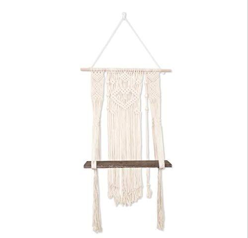 Hopma Estante de almacenamiento de tapicería, estantes de cuerda de algodón, fundas de cama, toallas de playa, paños de respaldo para decoración de pared, accesorios para el hogar para pasillos baños