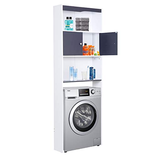 Happy Home Wasmachinekast, badkamerrek, hoge kast, badkamerkast, badkamerrek met deur en 3 planken voor toilet, badkamer, balkon (62,5 x 19,5 x 178 cm), grijs