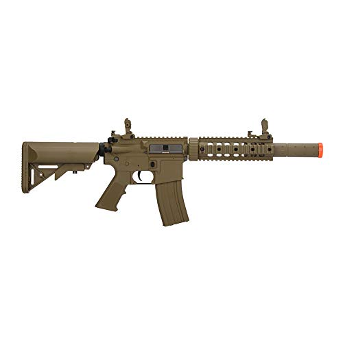 Lancer Tactical Gen 2 Polymer SD AEG Electric Automatic Airsoft Gun, Tan with High FPS