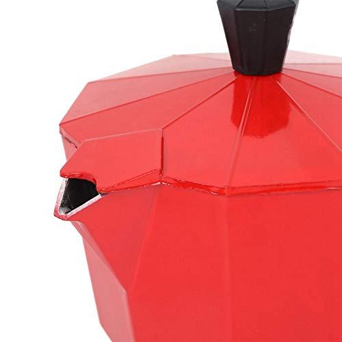 BTER Cafetera, 300 ml, 6 Tazas, Resistente cafetera Moka para Hacer café en la Oficina para Amantes del café, Regalo para el hogar(Red)