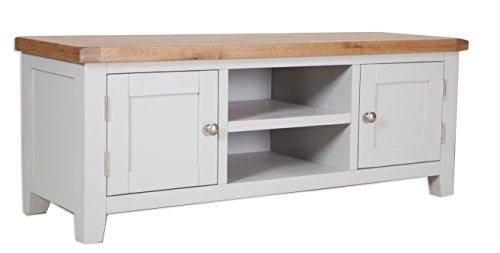 Classically Modern Dorset French Grey Painted Oak & Pine Flatscreen Plasma Tv Unit Bench Cabinet Living Room Furniture