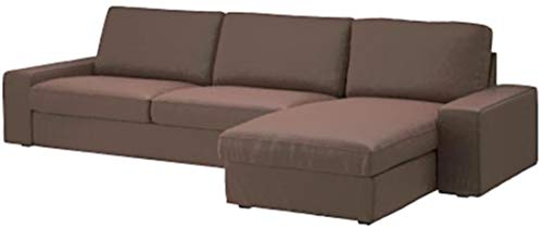 Width: 318CM, Not 280CM. Dense Cotton KIVIK Sectional, 4 Seat Sofa Cover Replacement Made Compatible for IKEA Kivik Corner Chaise Lounge Slipcover Only (Coffee)